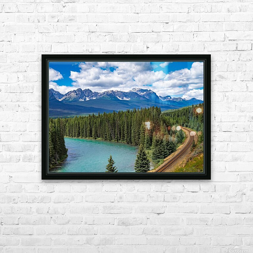 Train Tracks and River Bend HD Sublimation Metal print with Decorating Float Frame (BOX)