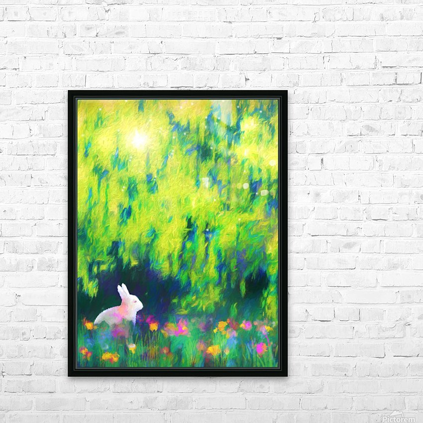 Bunny beneath the Willow Tree HD Sublimation Metal print with Decorating Float Frame (BOX)