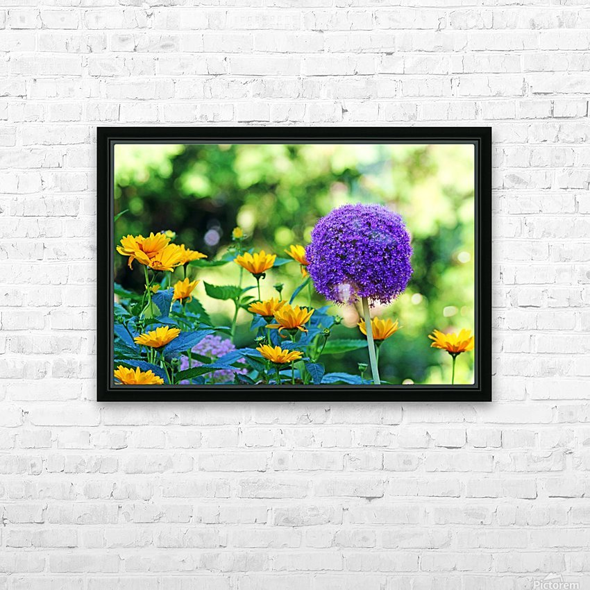 Allium And Wild Sunflowers HD Sublimation Metal print with Decorating Float Frame (BOX)