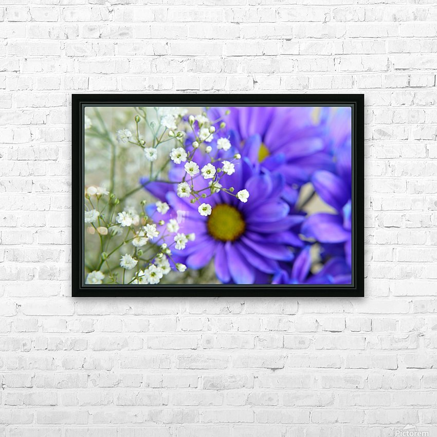 Babys Breath on Blue Daisy HD Sublimation Metal print with Decorating Float Frame (BOX)
