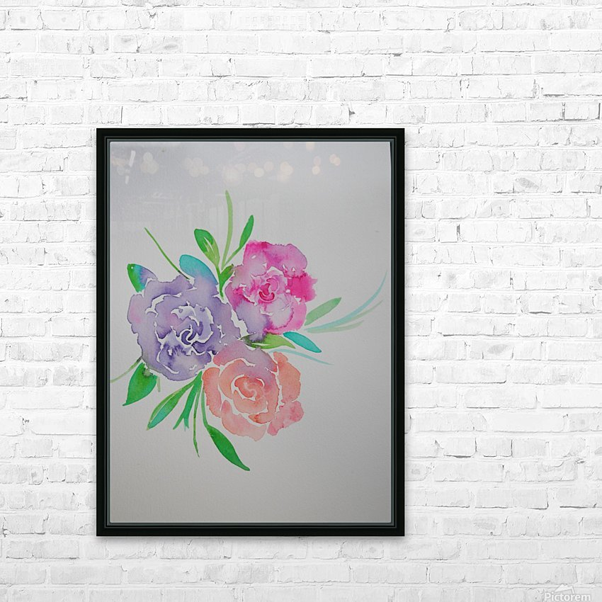 Watery roses HD Sublimation Metal print with Decorating Float Frame (BOX)