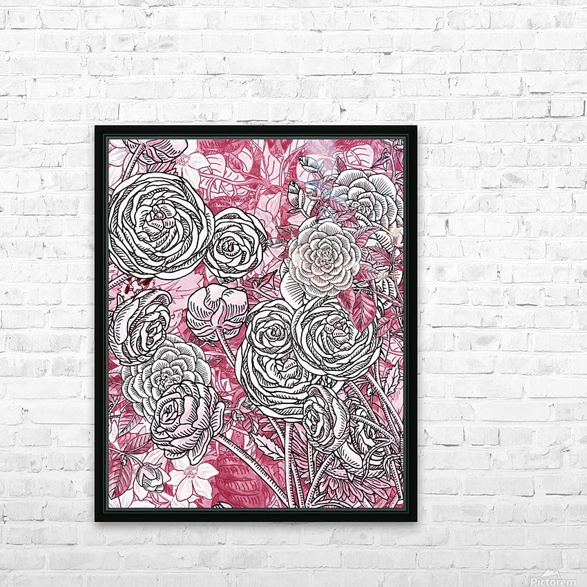 Watercolor Botanical Flowers Garden Pink Flowerbed V HD Sublimation Metal print with Decorating Float Frame (BOX)
