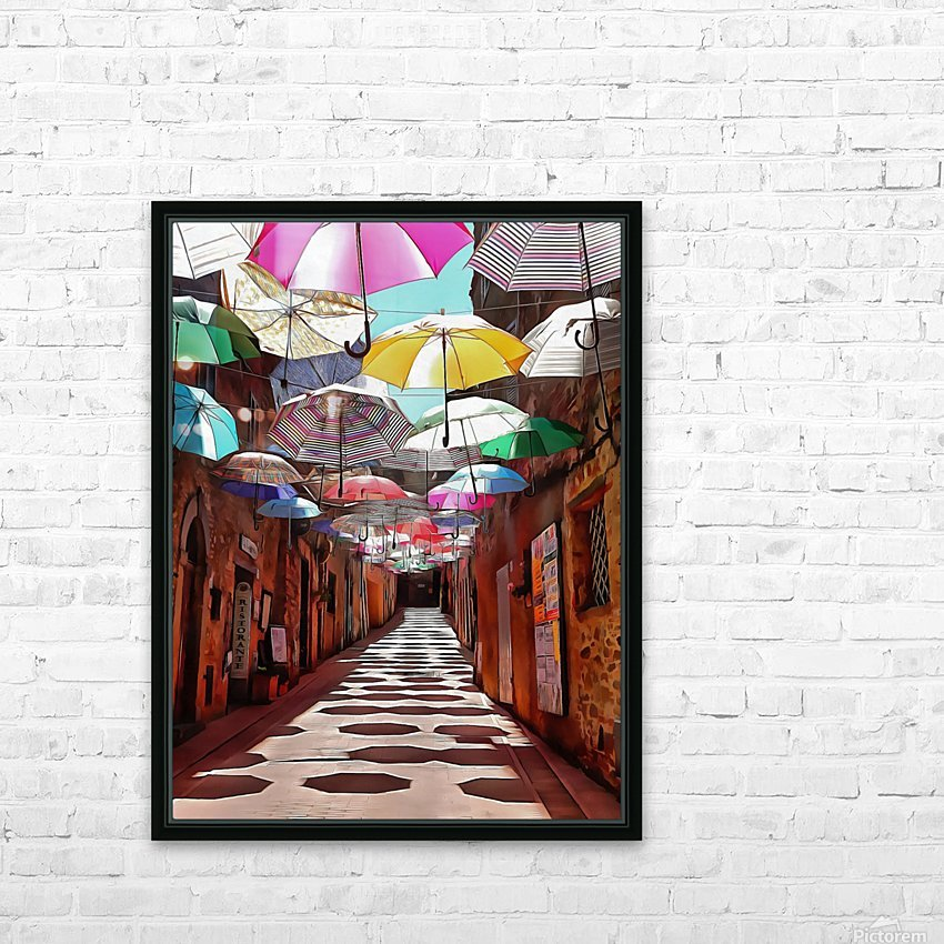 Festa Umbrellas Paciano With Shadows HD Sublimation Metal print with Decorating Float Frame (BOX)