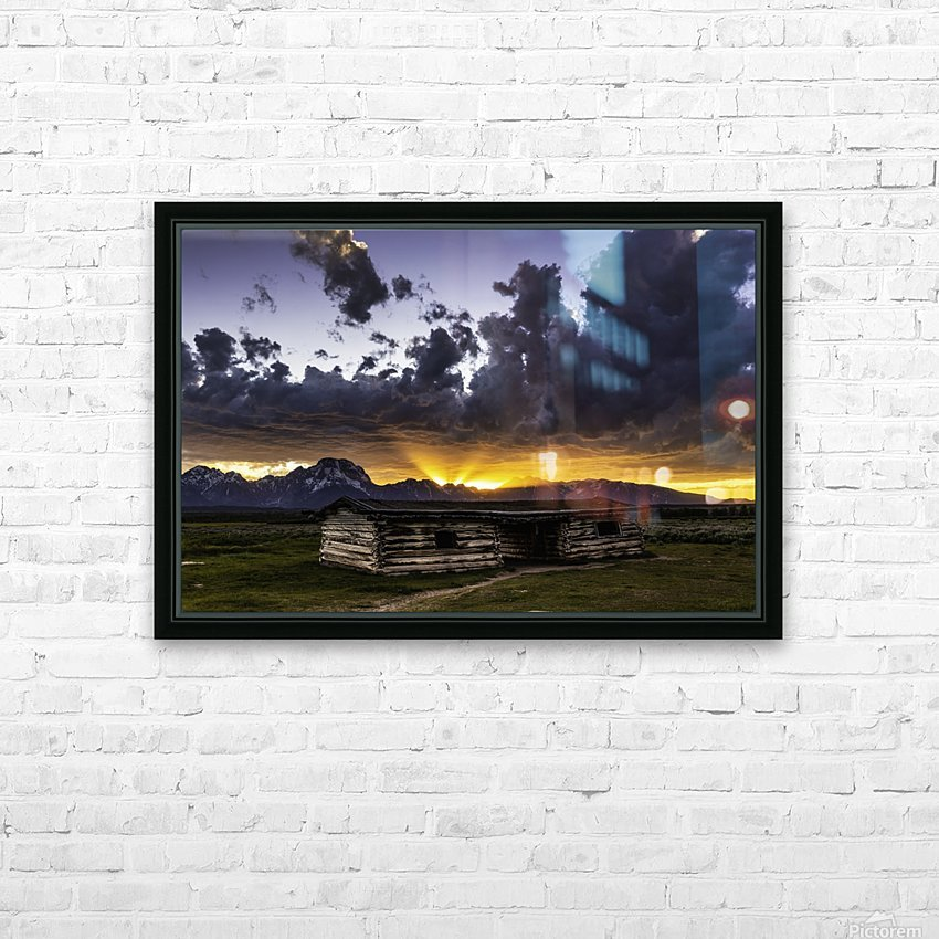 Pioneer Cabin sunset Grand Tetons HD Sublimation Metal print with Decorating Float Frame (BOX)