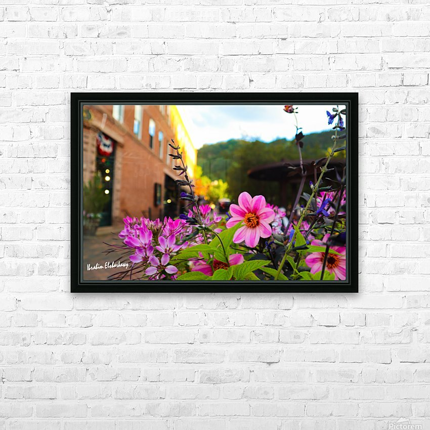 Beautiful pink and purple flowers in European city HD Sublimation Metal print with Decorating Float Frame (BOX)