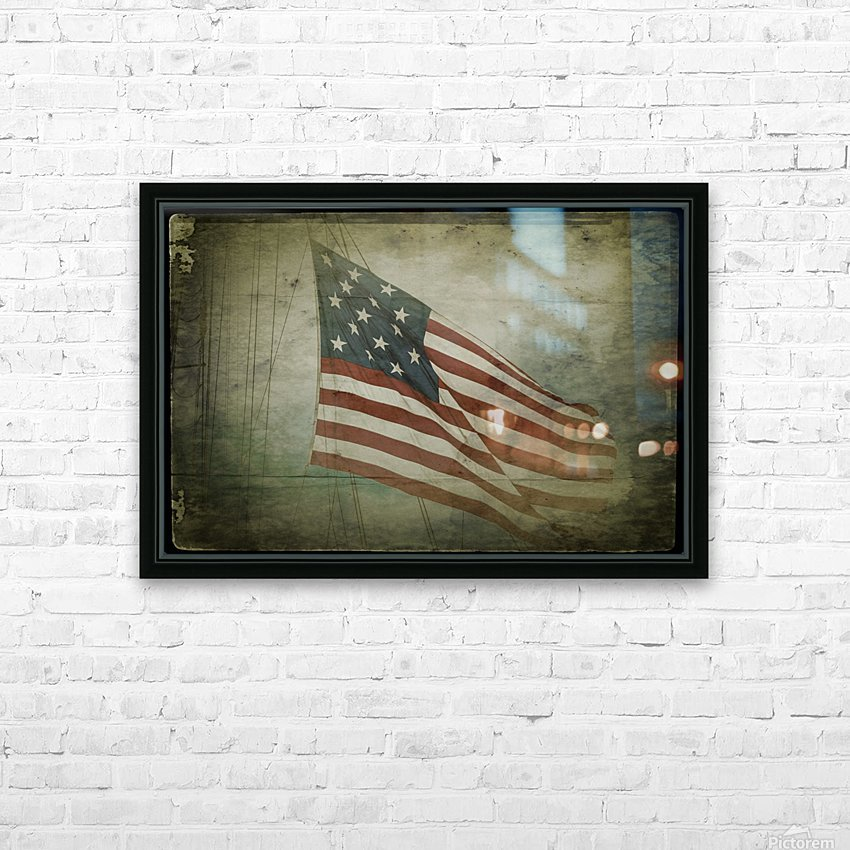 Fifteen Star Flag HD Sublimation Metal print with Decorating Float Frame (BOX)
