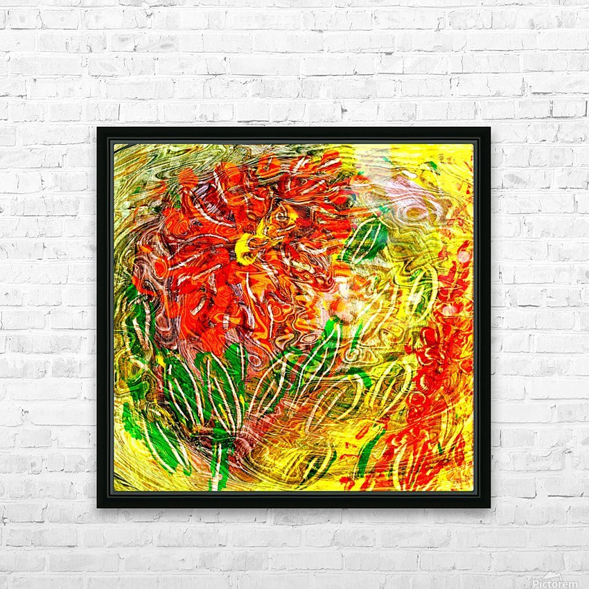 orange flower energy abstraction HD Sublimation Metal print with Decorating Float Frame (BOX)
