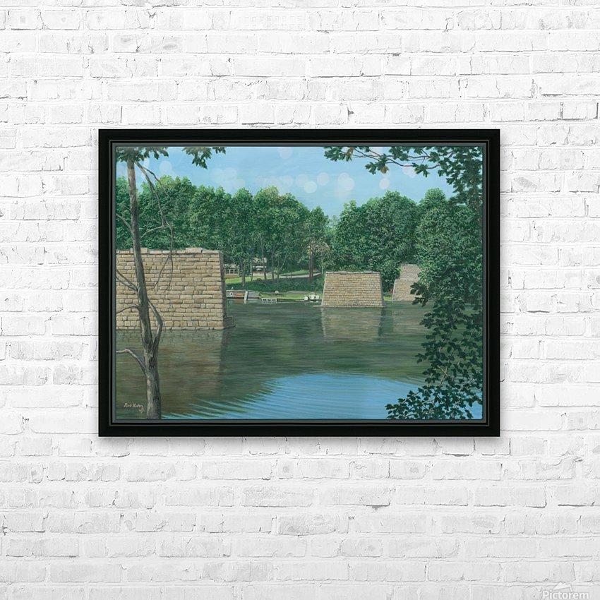 Stone Piers Housatonic River - Newtown Scenes 18 X 24  HD Sublimation Metal print with Decorating Float Frame (BOX)