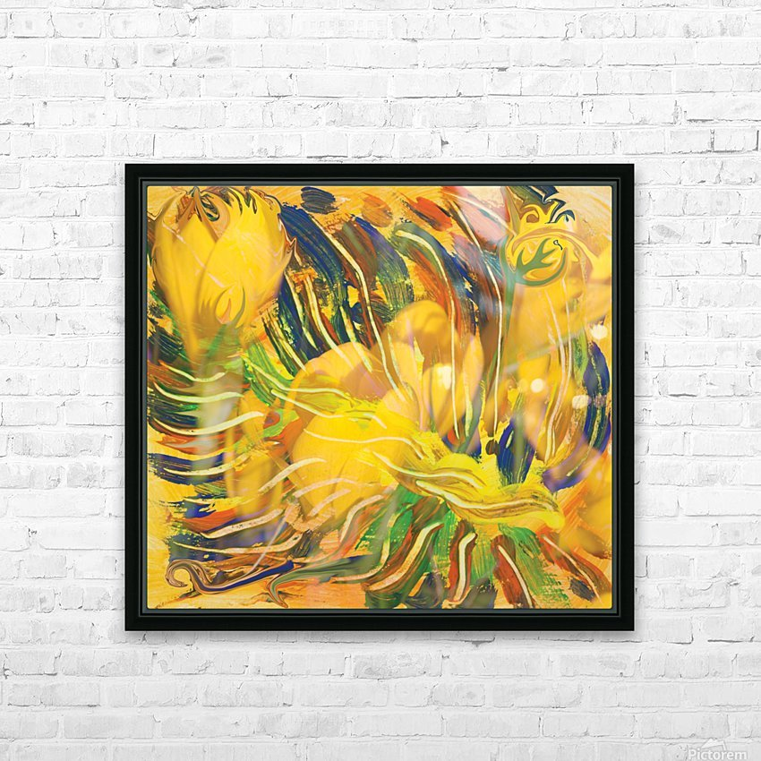 yellow flowers abstraction HD Sublimation Metal print with Decorating Float Frame (BOX)