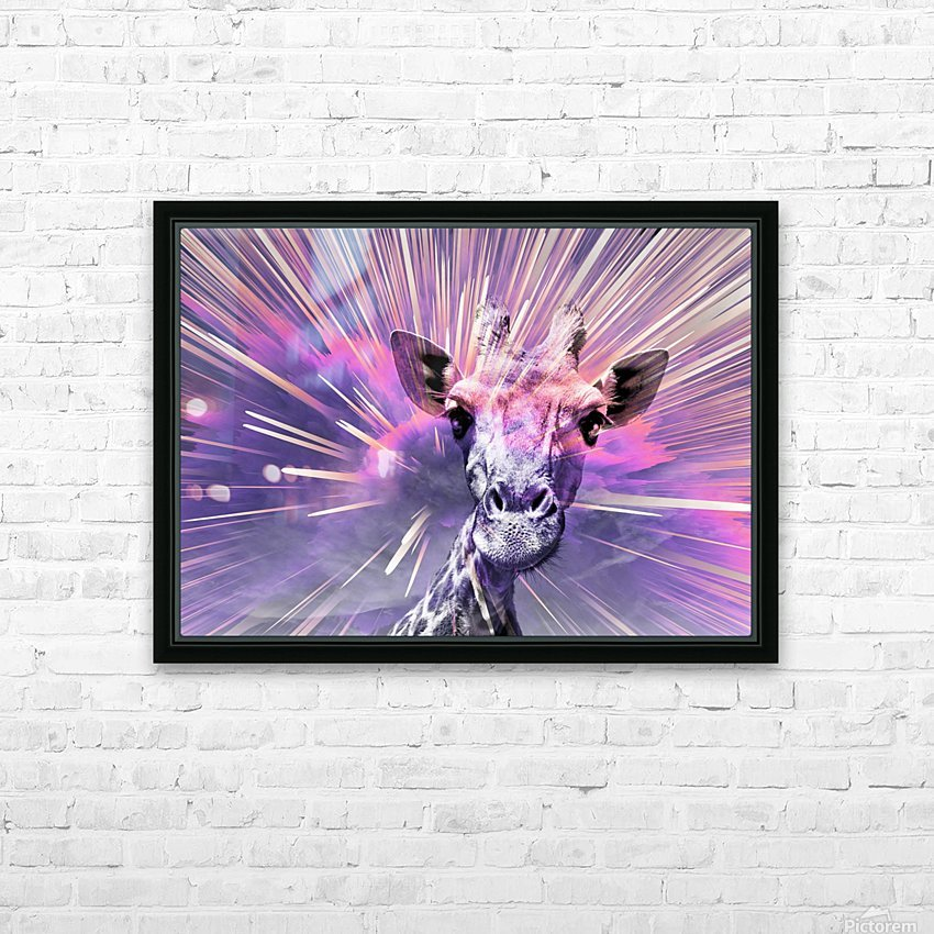 Giraffe pop 1 HD Sublimation Metal print with Decorating Float Frame (BOX)