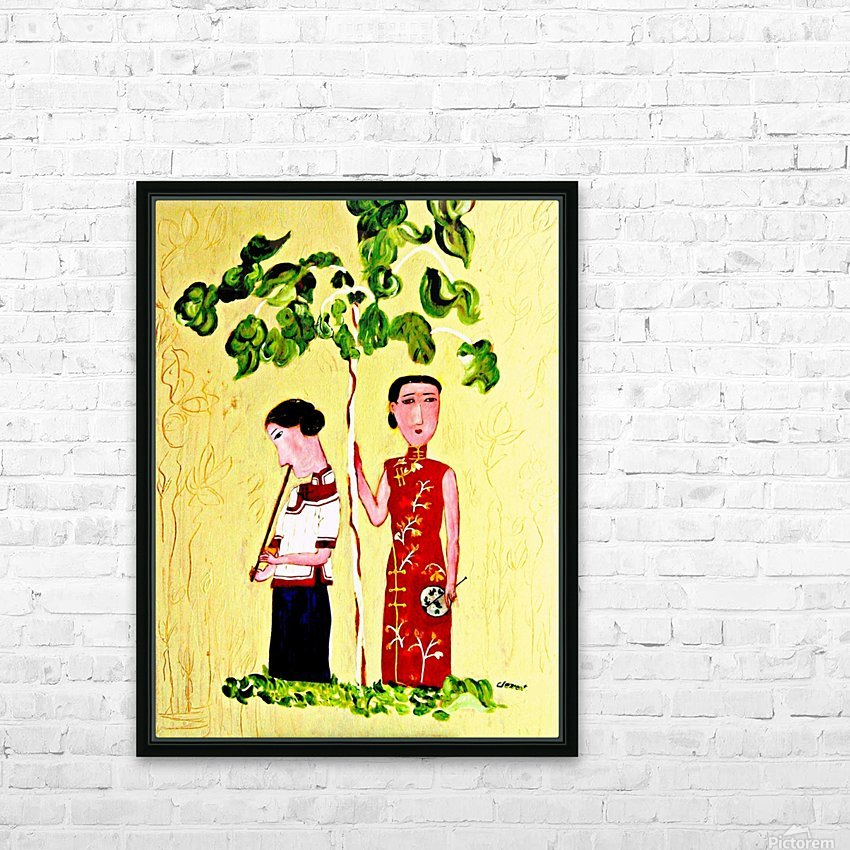 Two Chinese Ladies HD Sublimation Metal print with Decorating Float Frame (BOX)