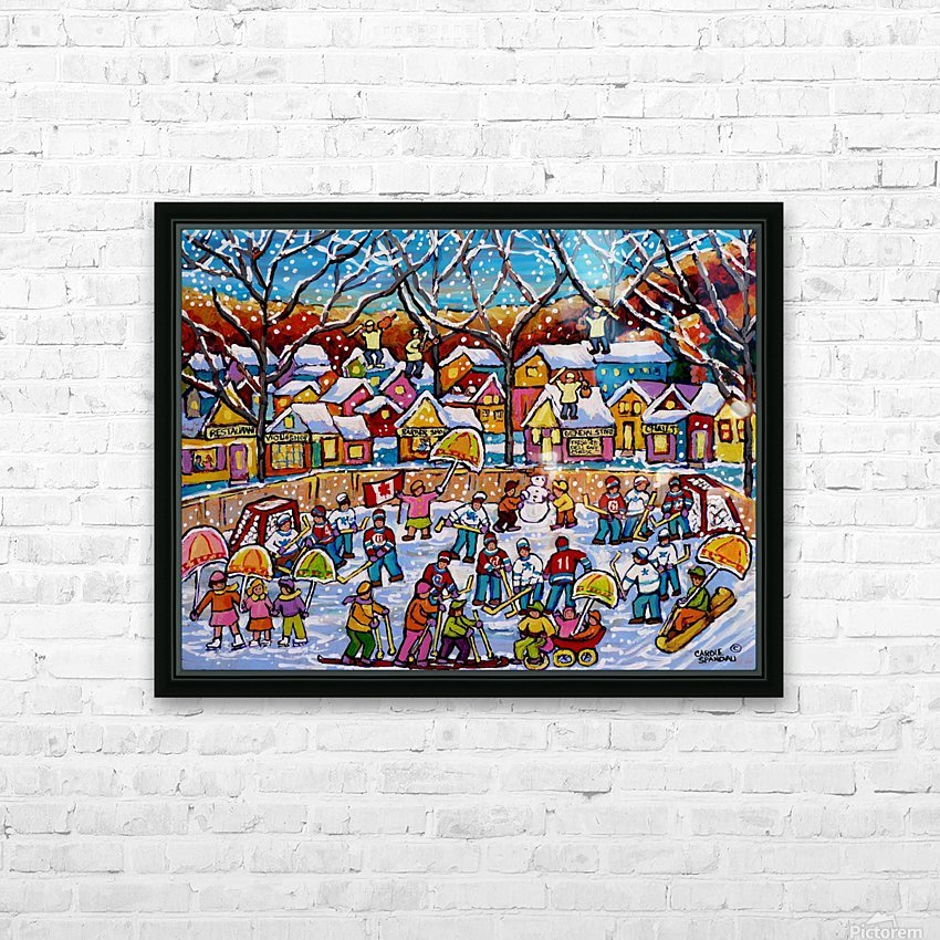 SNOWY WINTER WONDERLAND SCENE OUTDOOR HOCKEY AND SKATING FUN HD Sublimation Metal print with Decorating Float Frame (BOX)