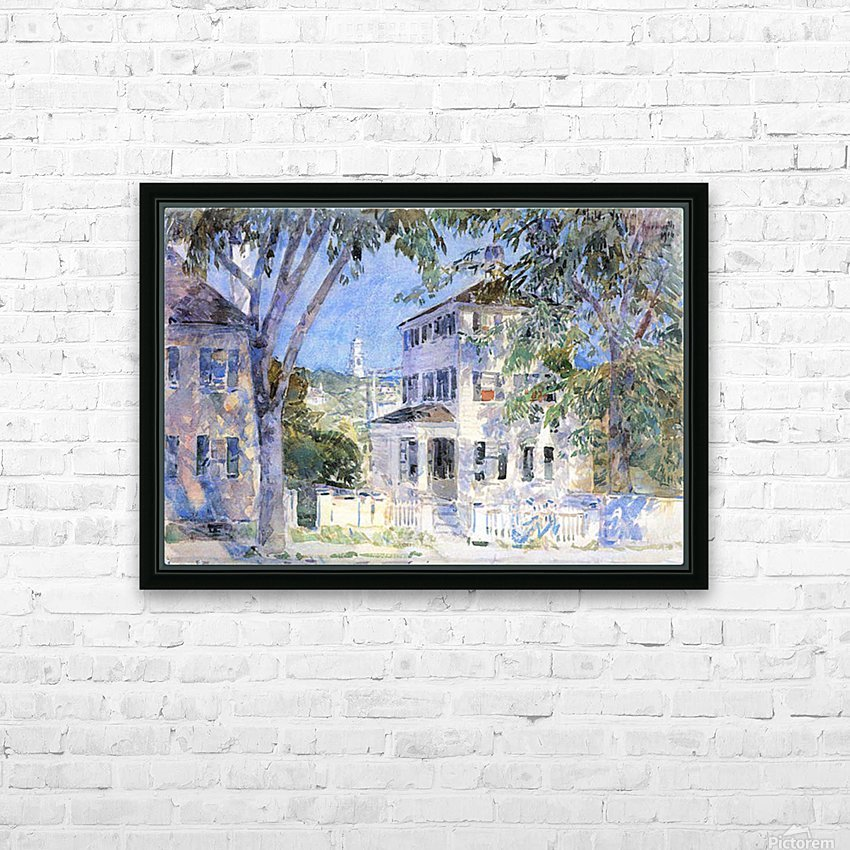 Street in Portsmouth by Hassam HD Sublimation Metal print with Decorating Float Frame (BOX)