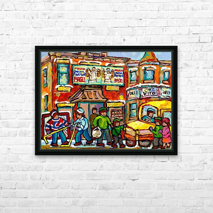 FAIRMOUNT BAGEL MONTREAL PAINTING CHEZ VITO WINTER CITY SCENE HD Sublimation Metal print with Decorating Float Frame (BOX)