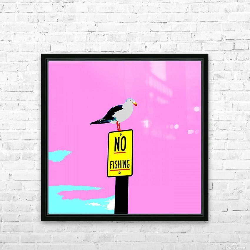 NO Fishing - Pink HD Sublimation Metal print with Decorating Float Frame (BOX)