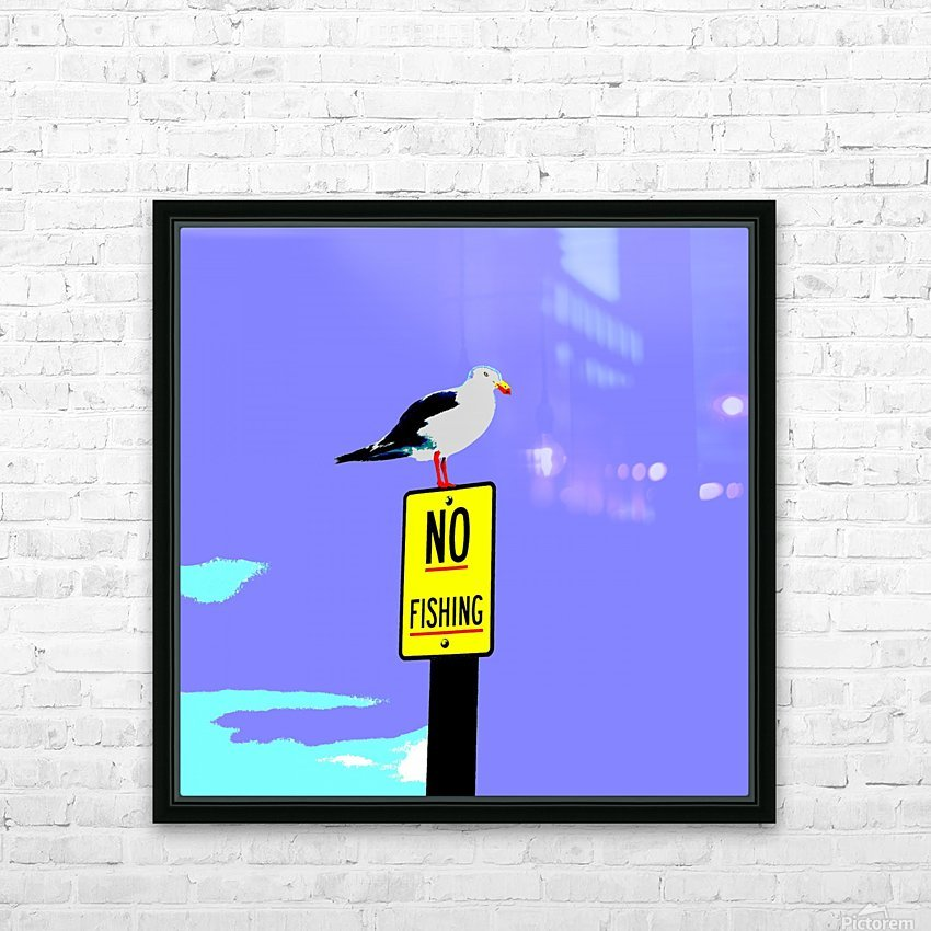 NO Fishing - Blue HD Sublimation Metal print with Decorating Float Frame (BOX)