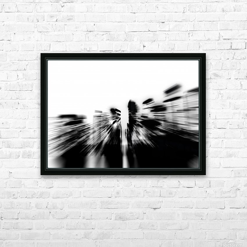 City radials in blackwhite HD Sublimation Metal print with Decorating Float Frame (BOX)