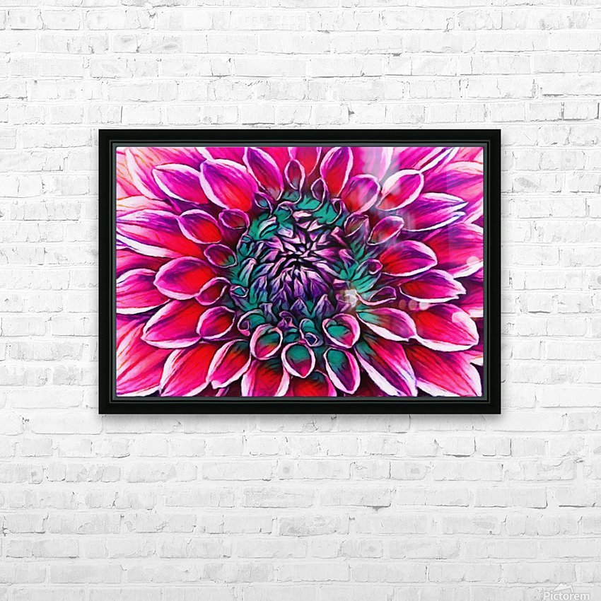 Red flower and Green HD Sublimation Metal print with Decorating Float Frame (BOX)