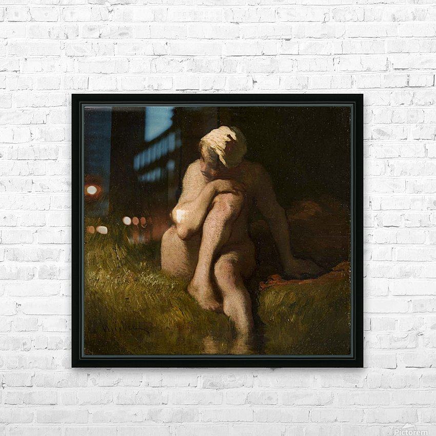 Nude bather by the waterside HD Sublimation Metal print with Decorating Float Frame (BOX)
