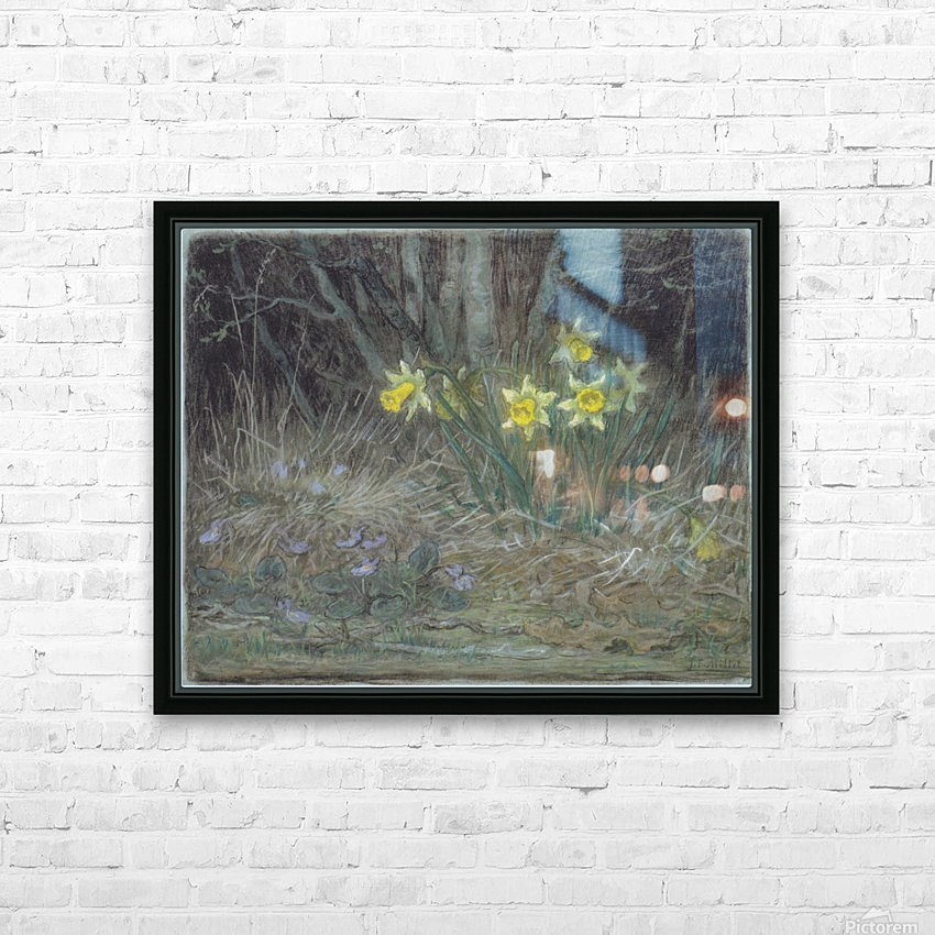 Narcissi and Violets HD Sublimation Metal print with Decorating Float Frame (BOX)