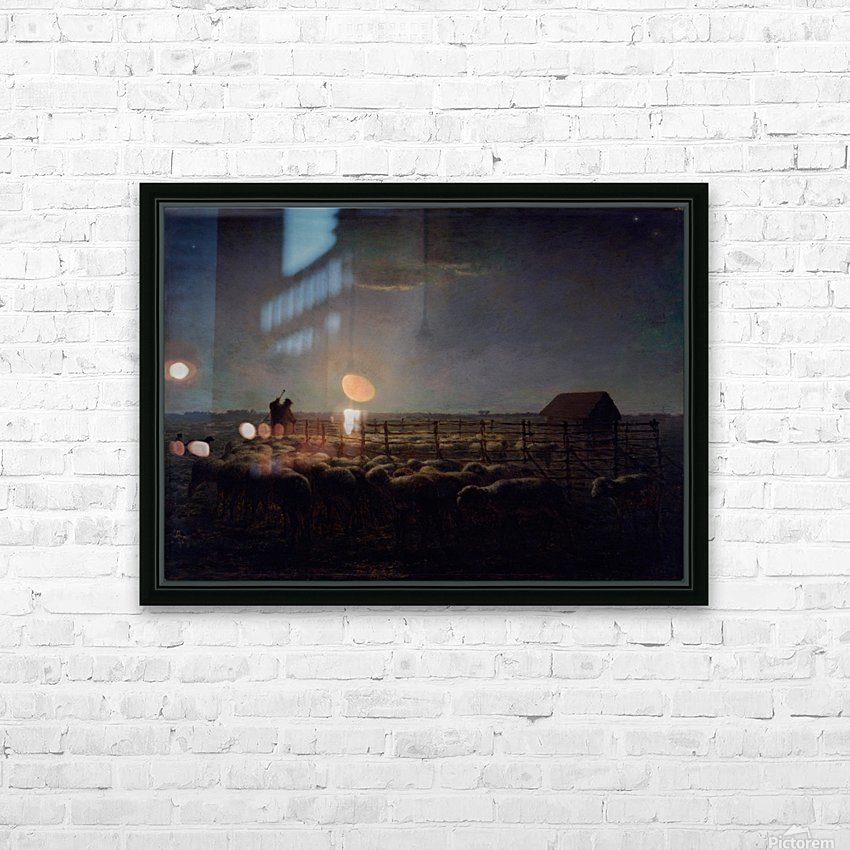 The Sheepfold, Moonlight HD Sublimation Metal print with Decorating Float Frame (BOX)