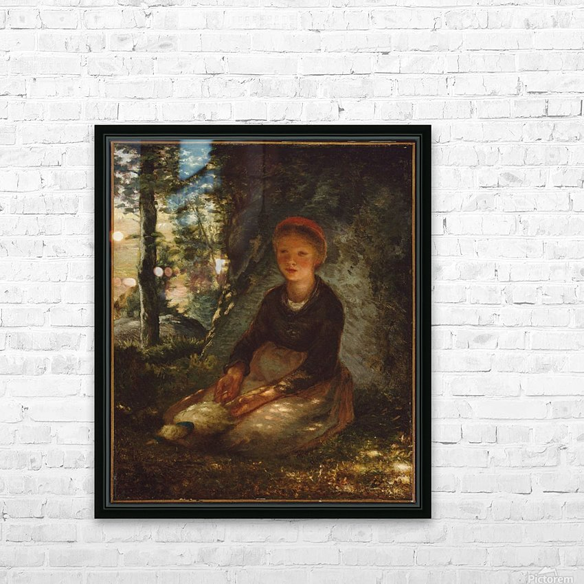 Shepherdess seated in the shade HD Sublimation Metal print with Decorating Float Frame (BOX)