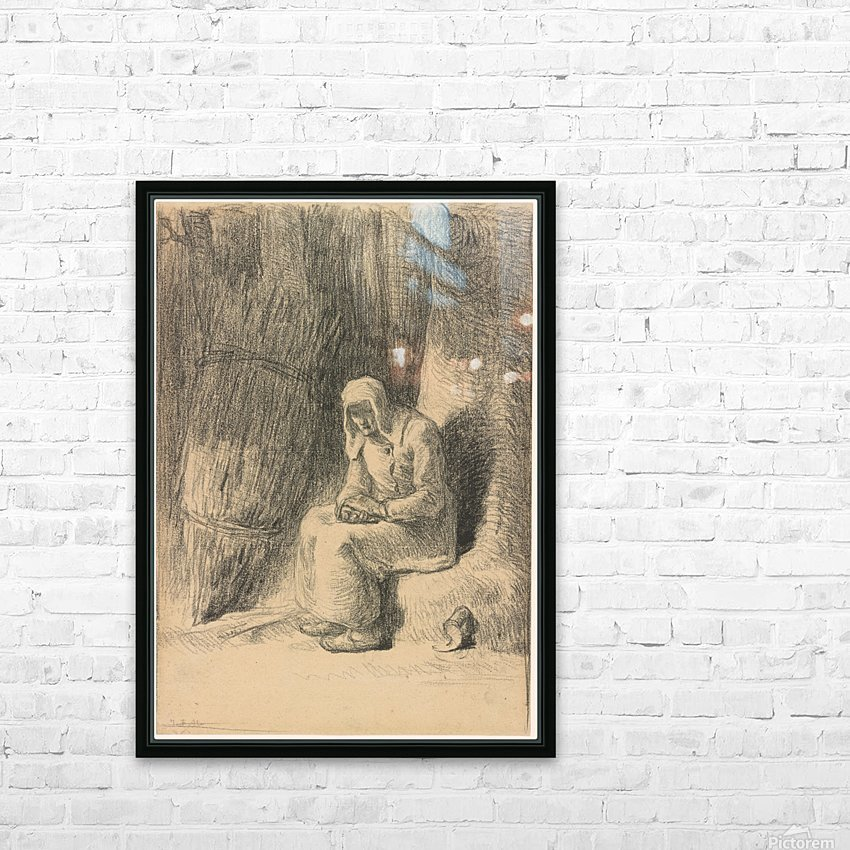 Woman seated beside a tree HD Sublimation Metal print with Decorating Float Frame (BOX)