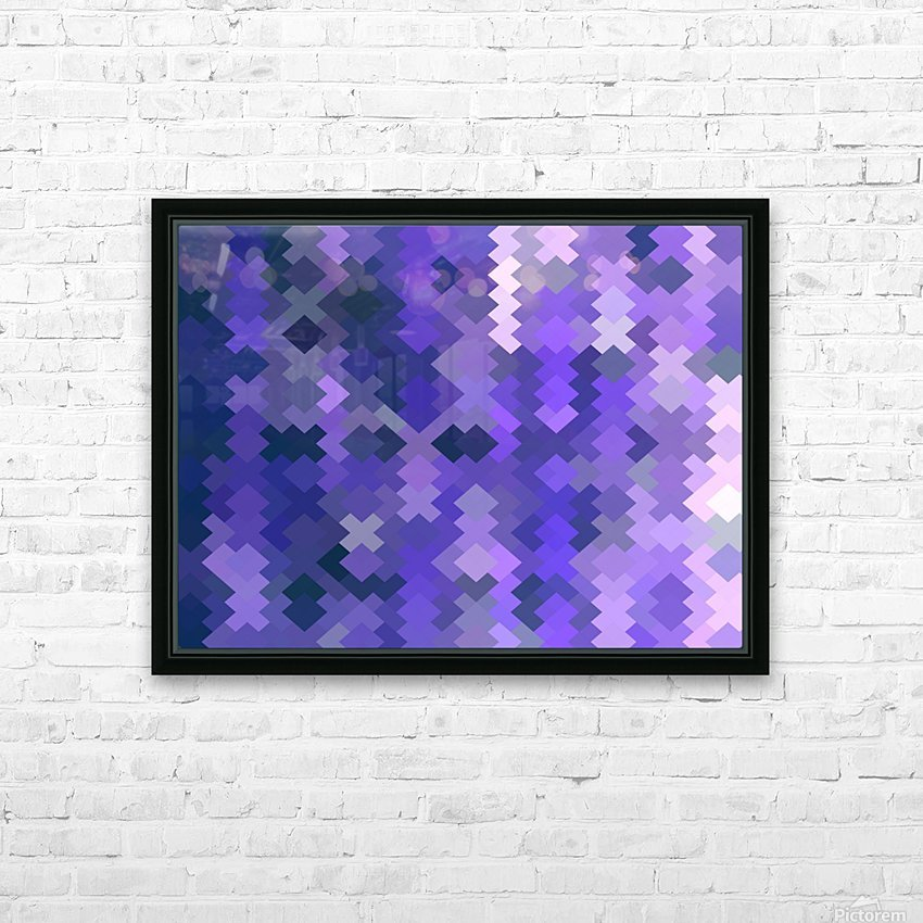 geometric square pixel pattern abstract in purple HD Sublimation Metal print with Decorating Float Frame (BOX)