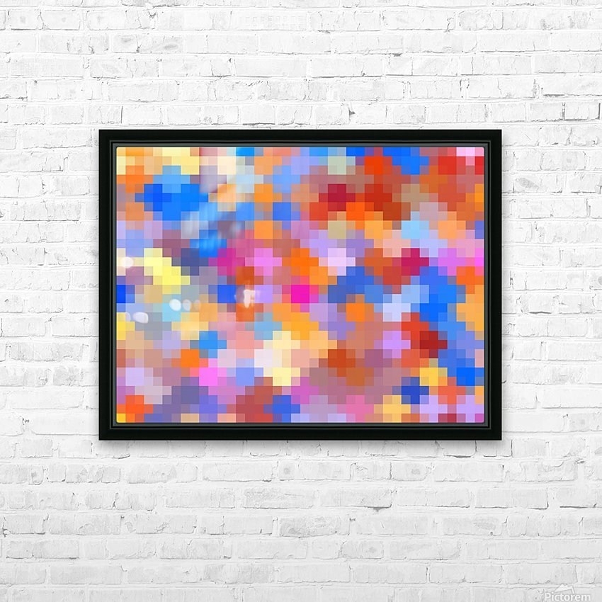 geometric square pixel pattern abstract in pink blue orange HD Sublimation Metal print with Decorating Float Frame (BOX)