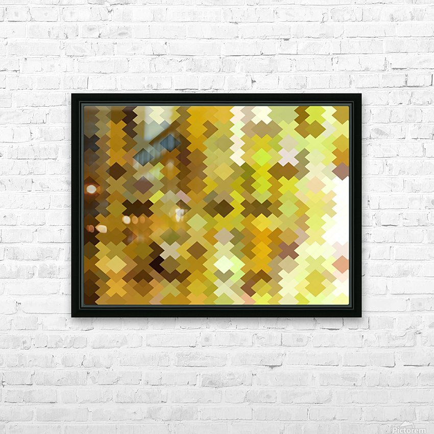 geometric square pixel pattern abstract in yellow and brown HD Sublimation Metal print with Decorating Float Frame (BOX)