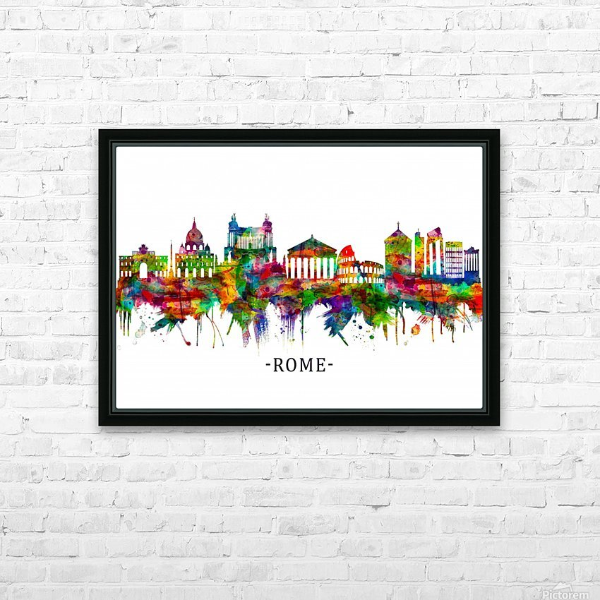 Rome Italy Skyline HD Sublimation Metal print with Decorating Float Frame (BOX)