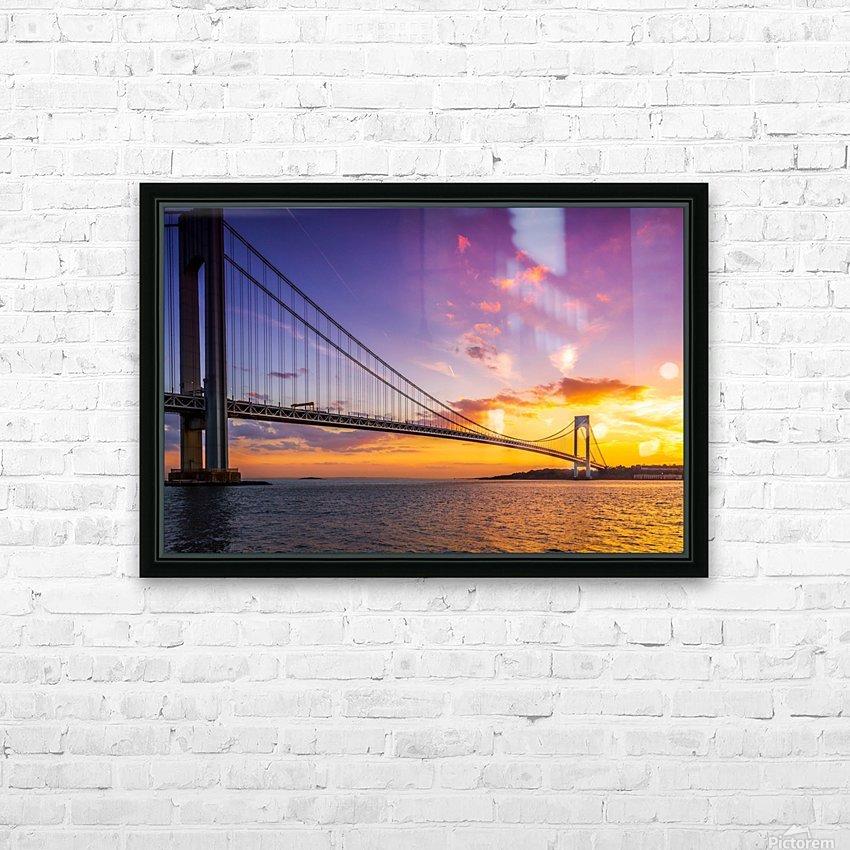 Verrazano bridge at sunset HD Sublimation Metal print with Decorating Float Frame (BOX)