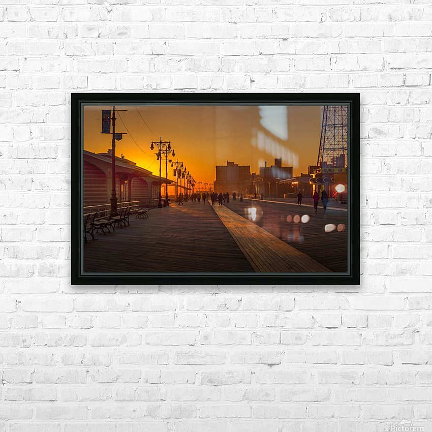 Sunset over the boardwalk HD Sublimation Metal print with Decorating Float Frame (BOX)