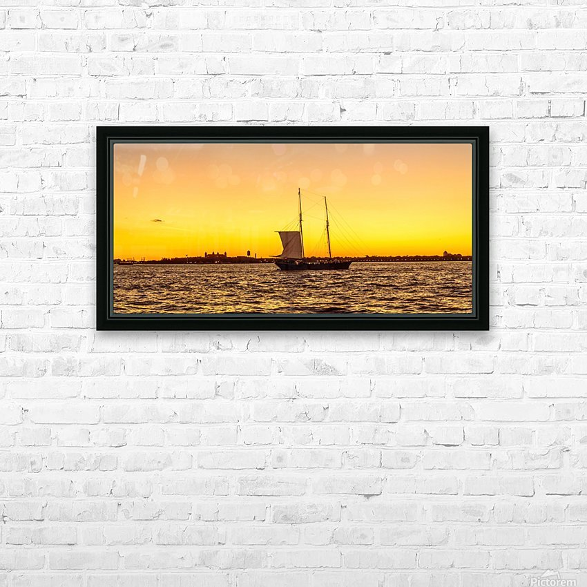 Sunset over the NY harbor HD Sublimation Metal print with Decorating Float Frame (BOX)