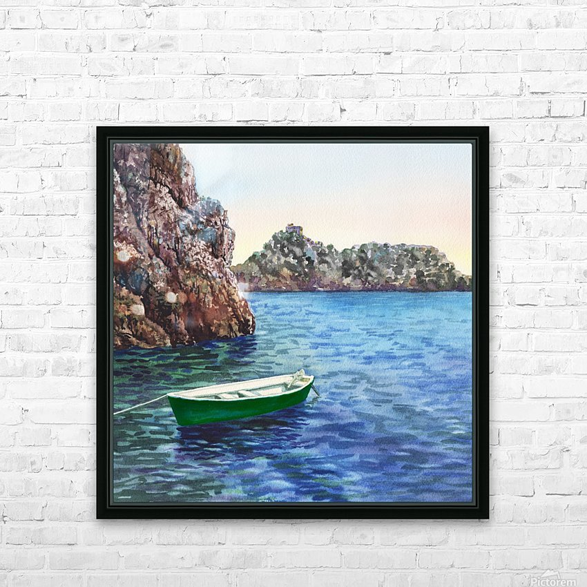 Green Boat Blue Sea Grotto Emeraldo Harbor  HD Sublimation Metal print with Decorating Float Frame (BOX)