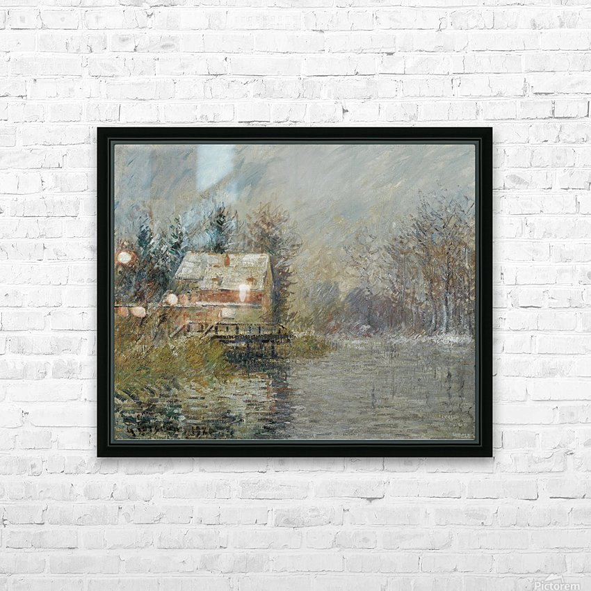 The House by the Water, Snow Effect HD Sublimation Metal print with Decorating Float Frame (BOX)