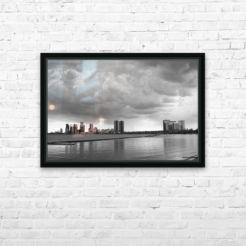 City at Ontario Lake B&W HD Sublimation Metal print with Decorating Float Frame (BOX)