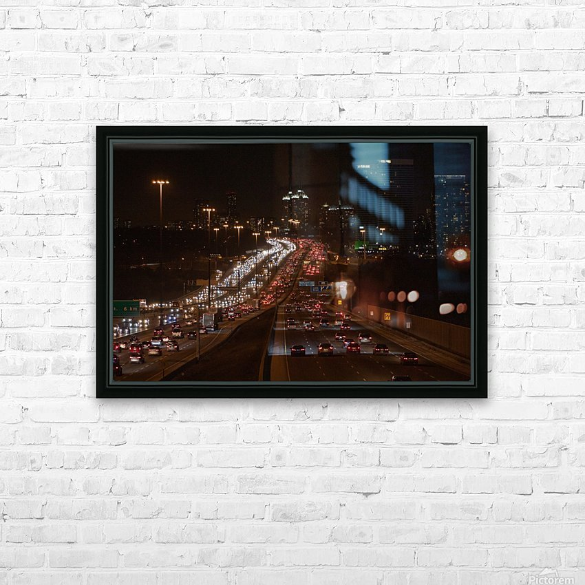 Busy road at night HD Sublimation Metal print with Decorating Float Frame (BOX)