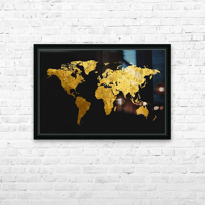 Golden World Map HD Sublimation Metal print with Decorating Float Frame (BOX)
