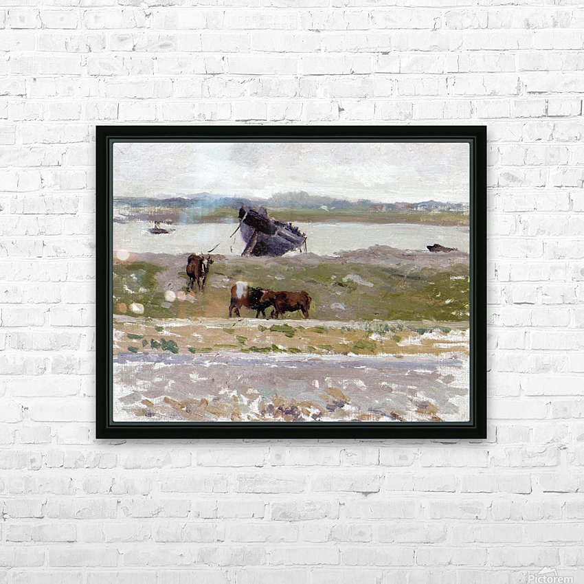 The Cows near an Old Boat, Etaples HD Sublimation Metal print with Decorating Float Frame (BOX)