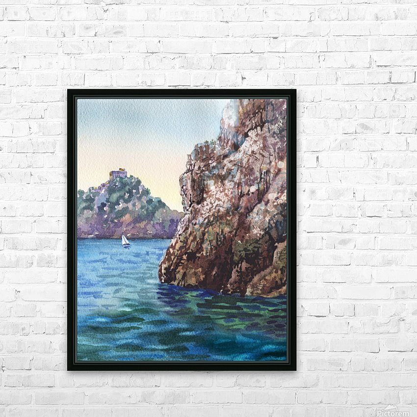 Seascape Harbor Rocky Shore Watercolor Painting HD Sublimation Metal print with Decorating Float Frame (BOX)