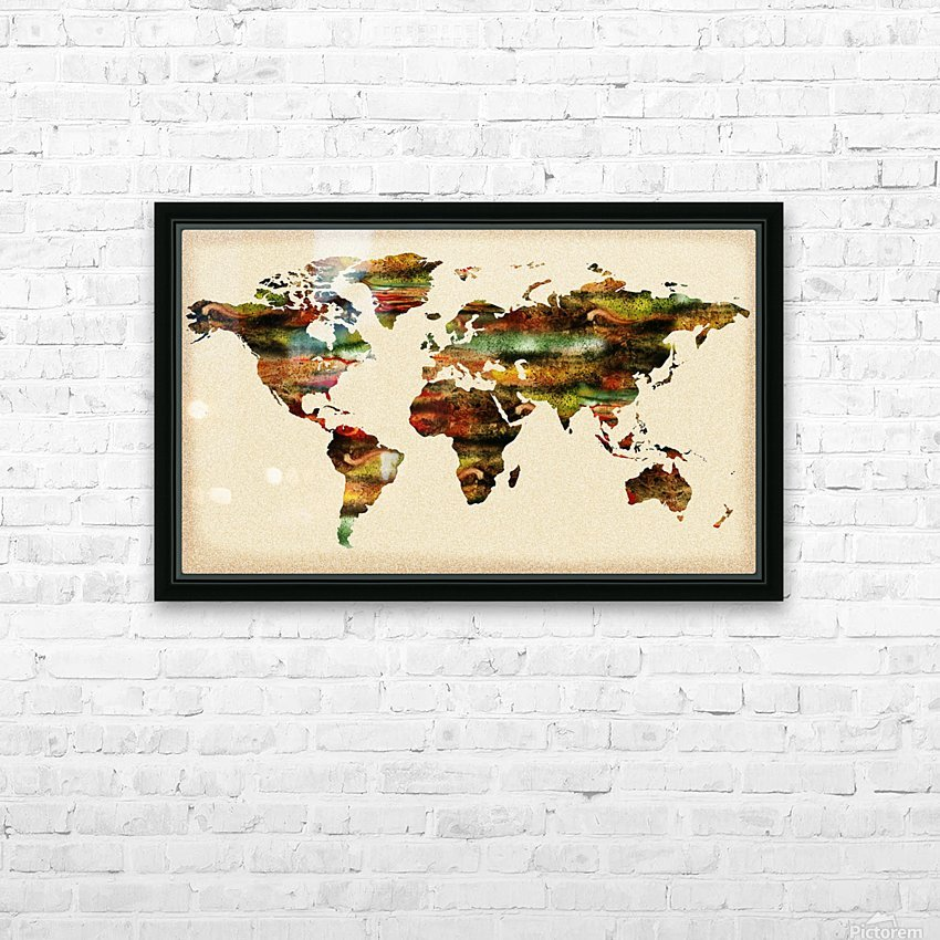 Watercolor World Map Vintage Brown HD Sublimation Metal print with Decorating Float Frame (BOX)
