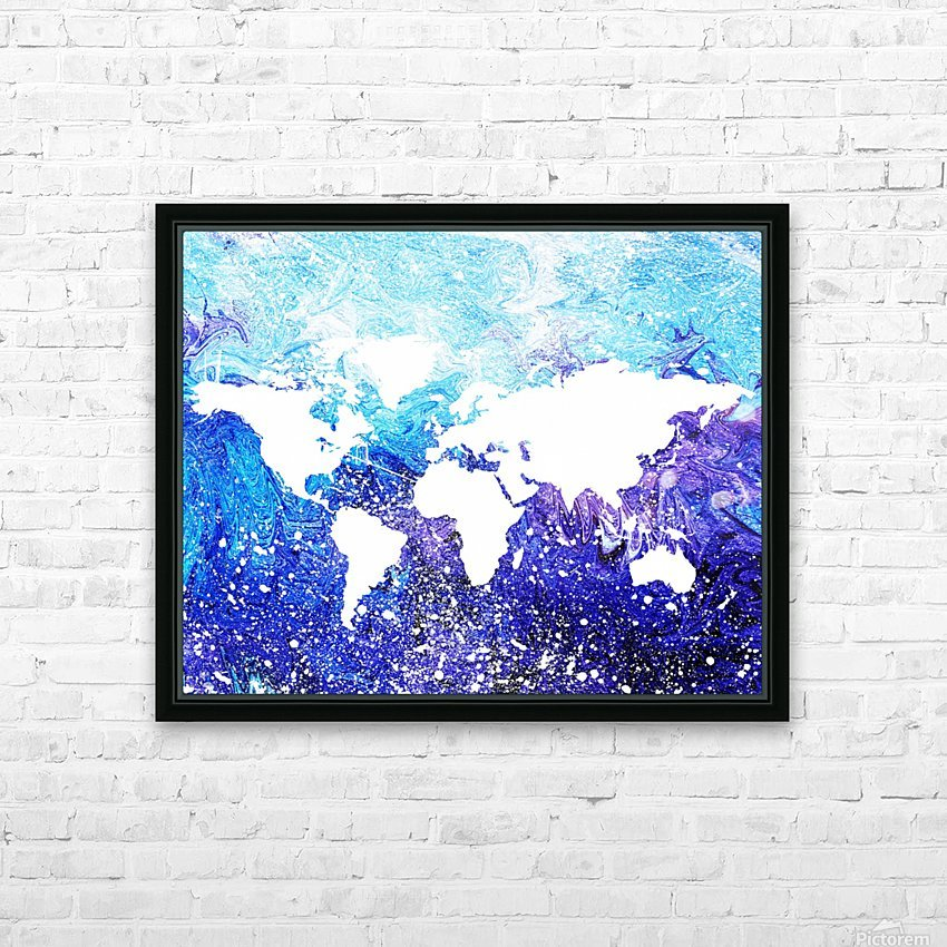 Watercolor Silhouette World Map Global Cooling  HD Sublimation Metal print with Decorating Float Frame (BOX)