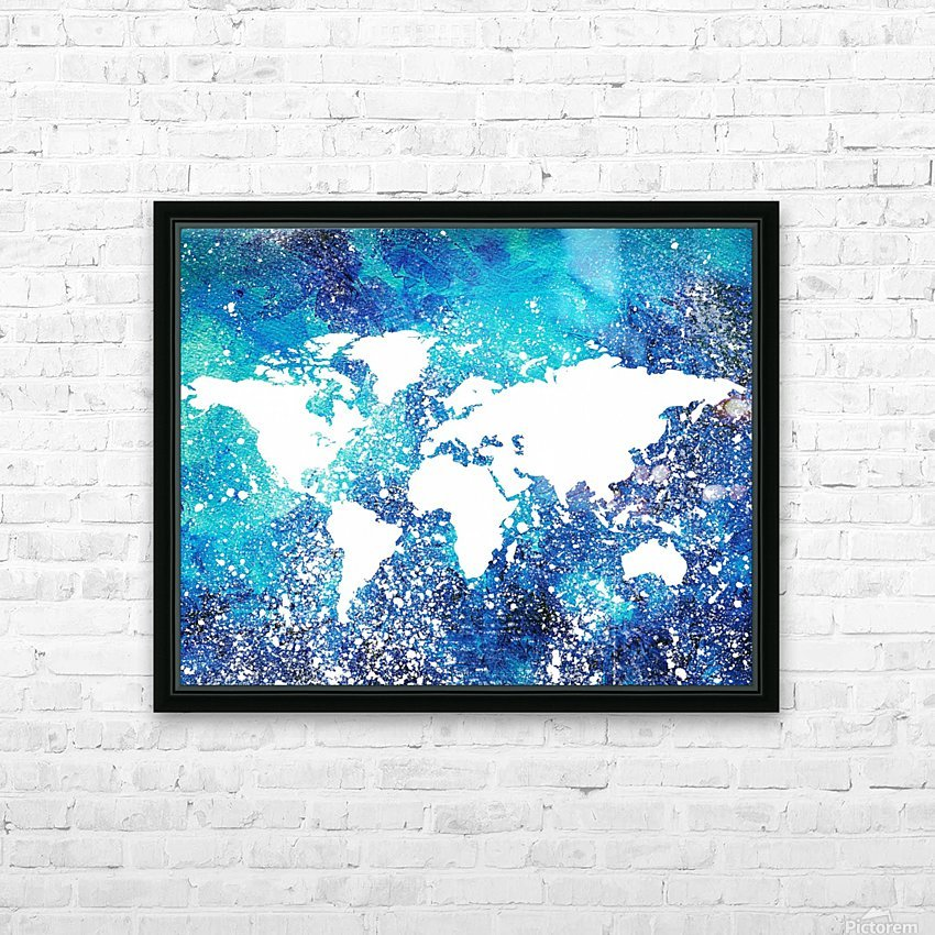 White And Teal Watercolor Silhouette World Map  HD Sublimation Metal print with Decorating Float Frame (BOX)