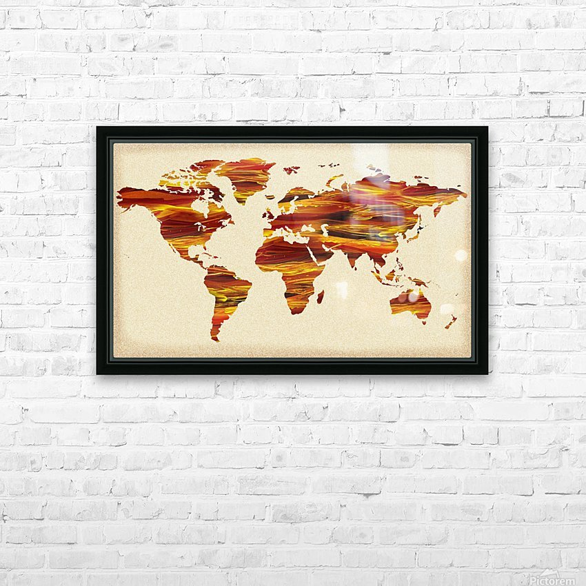 Watercolor Silhouette World Map Terra Lines HD Sublimation Metal print with Decorating Float Frame (BOX)