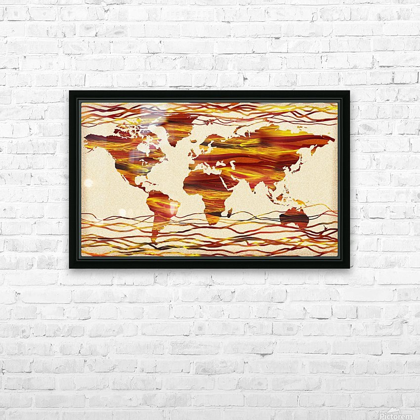 Watercolor Silhouette World Map Brown Beige Waves  HD Sublimation Metal print with Decorating Float Frame (BOX)
