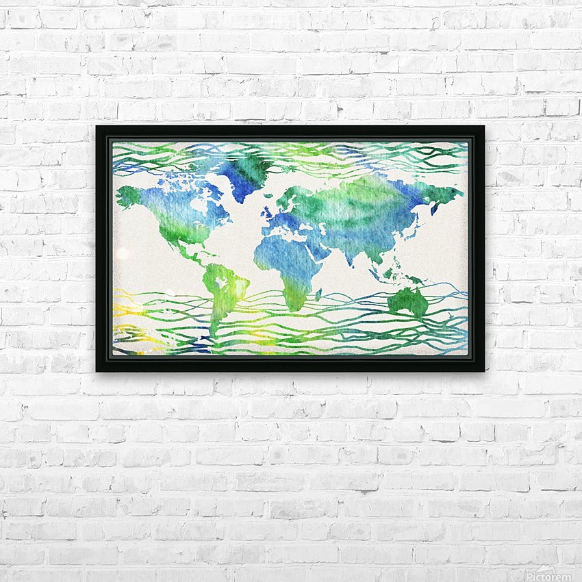 Watercolor Silhouette World Map Blue Green Wave  HD Sublimation Metal print with Decorating Float Frame (BOX)
