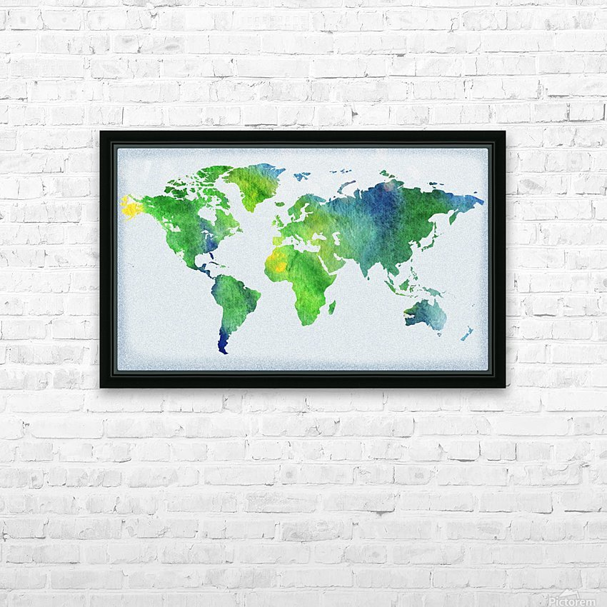 Watercolor Silhouette World Map Peaceful Green  HD Sublimation Metal print with Decorating Float Frame (BOX)