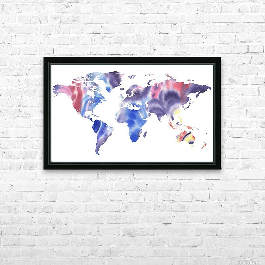 Watercolor Silhouette World Map Purple Blue HD Sublimation Metal print with Decorating Float Frame (BOX)