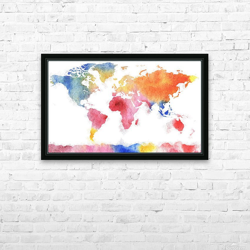 Watercolor Silhouette World Map Rainbow Sea HD Sublimation Metal print with Decorating Float Frame (BOX)